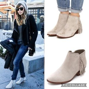 Sam Edelman Paige Ankle Booties Suede Fringes